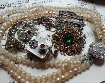 Shabby Junk Drawer Jewelry ... Chippy Glass Pearls Rhinestones Pot Metal ... Repurpose