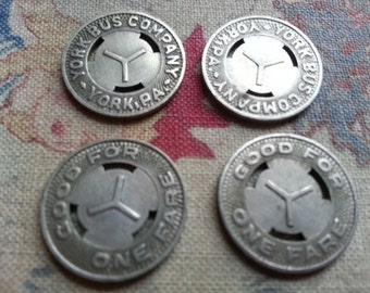 FOUR Small Vintage Bus Tokens, Transportation, Metal. York Pa. Jewelry Steampunk Supply.