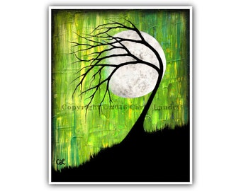 Moon Phases Art Print - Phase III - Minimalist Modern Dark Contemporary Fine Artwork Vibrant Style - Size Options: 8x10 11x14 16x20 20x24