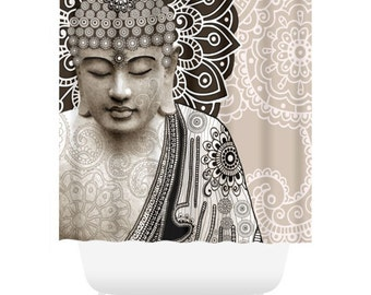 Paisley Buddha Shower Curtain - Tan and Brown Buddhist Bath Curtain - Zen Bathroom Decor - Meditation Mehndi by artist Christopher Beikmann