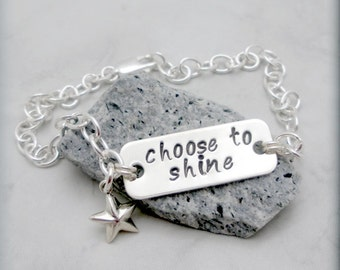 Inspirational Bracelet, Sterling Silver, Handstamped, Graduation, Star Bracelet, Charm Bracelet, Chain, Star Jewelry, Choose to Shine SB724