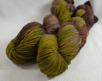 SALE 30% OFF Hand Dyed Merino Superwash Fine Fingering Weight Sock Yarn by Yarn Hollow Fern and Mushroom Multi Color