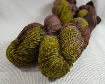SALE 30% OFF Hand Dyed Merino Superwash Fine Fingering Weight Sock Yarn by Yarn Hollow Fern and Mushroom Multi Color