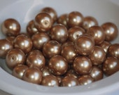 12mm Glass DARK CHAMPAGNE Pearl Coated Round Beads (25) RD25