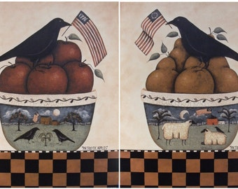 Patriotic Crows. Bowl of Apples and Pears. Pastoral folk art landscape bowls, sheep, American flag.