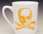 ON SALE skull and cross utensils classic mug in Goldenrod Yellow SALE Item