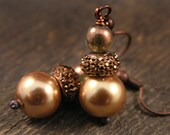 SALE Gold glass pearls, and antique copper handmade earrings