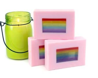 Strawberry Scented Rainbow Soap Bar, Hand Cut Loaf Soap