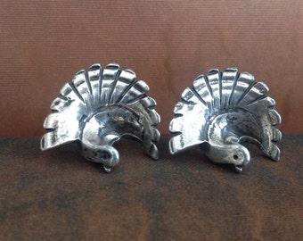 Rebajes Mid Century bird earrings Modernist Rare screw backs