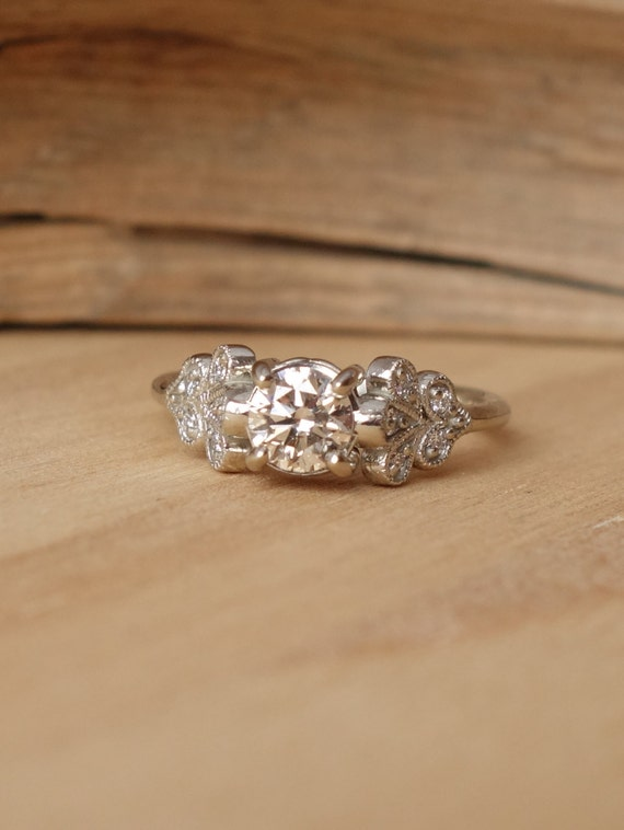 Vintage Petal Diamond Ring