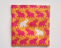 Reusable Sandwich Bag, Snack Bag with Pink Elephants on Orange, Kid's Lunch Bag, Work Lunch Bag, Eco Friendly, Bright and Fun