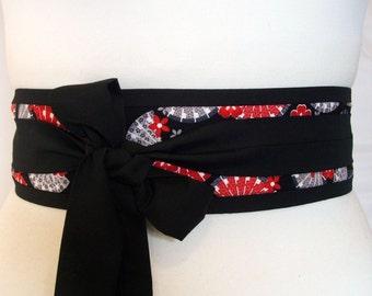 Obi kimono belt with Japanese fan fabric ... Black obi belt, Geisha belt, Kimono sash