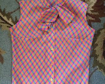 Cute mod neon plaid blouse by majorette sz14