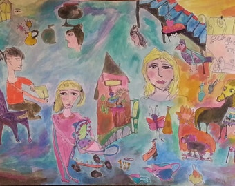 """Original painting, """"A Child's Fairytale"""", pen and ink and watercolor on foam board, Chagall style, childlike, self taught, naive artist"""