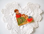Vintage Valentine Die Cut Easel Type Stand Up Card Holiday Paper Ephemera Art Deco Card Made In Germany