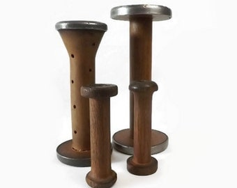 Primitive Wood Thread Spools, Lot of 4 Vintage Industrial Textile Bobbins, Sewing Collectible