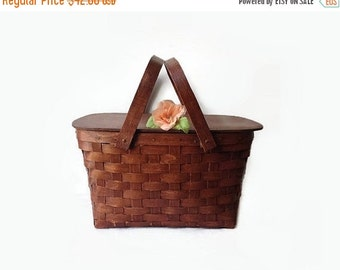 Large Woven Picnic Basket, Vintage Wood Food Carrier, Summer Home Decor