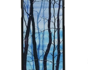 """Phone Case """"Blue Trees"""" - Forest, Winter Theme, Blue, Trees, Christmas, Cold, Nighttime By Olga Cuttell"""