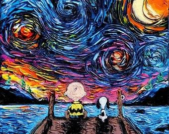 Charlie Brown Snoopy Art CANVAS print Starry Night van Gogh Never Sat At The Dock Of The Bay 8x8 10x10 12x12 16x16 20x20 24x24 30x30 36x36