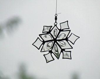 Recycled Glass Snowflake, Eco Friendly Snowflake, Unique Snowflake Gift, Winter Enthusiast Gift