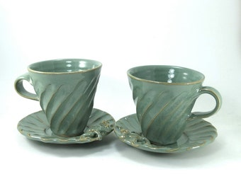 small pair of frog cups and saucers sold together