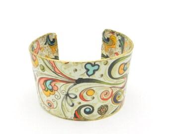 Bohemian Bracelet, Boho Bracelet, Bracelet Cuff, Cuff Bracelet, Decoupage Cuff, Art Cuff, Wide Bracelet, Hippie Jewelry, By Durango Rose