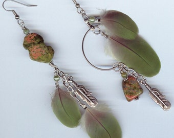 Parrot Feather Unakite Earrings - feathers native ethnic Gypsy style - asymmetrical mismatched jewelry - green natural stone shoulder duster