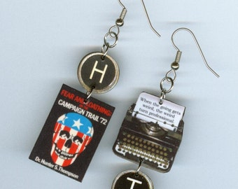 Book Cover EARRINGS - Fear and Loathing on the Campaign Trail- Typewriter key jewelry -Literary book club gift - Politics Political satire