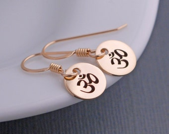 Yoga Earrings, Om Jewelry Short Earrings, Simple Earrings,  Om Jewelry