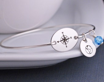 Personalized Nautical Jewelry, Compass Bracelet, Nautical Anchor Bracelet, Sterling Silver Bangle