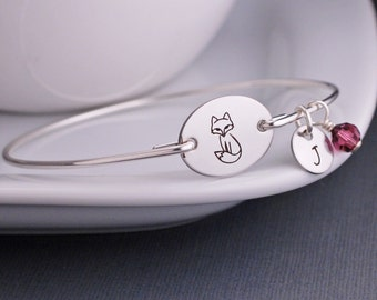 Woodland Jewelry, Silver Fox Bangle Bracelet, Personalized Fox Jewelry, Fox Bracelet Gift