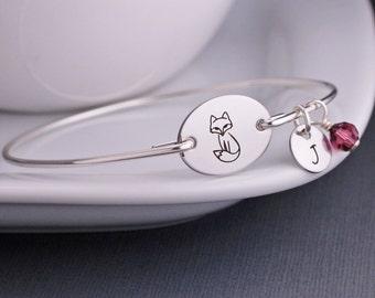 Woodland Jewelry, Silver Fox Bangle Bracelet, Personalized Fox Jewelry, Fox Bracelet Gift