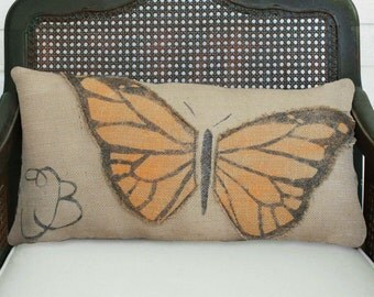 Butterfly - Burlap Pillow - Personalize with your monogram or initial - Monarch Butterfly Pillow - Butterfly Decor