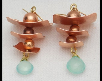 YANGTZE - Handforged Copper & Aqua Chalcedony Briolette Exotic Earrings