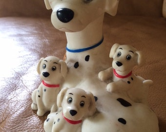 Vintage Piggy Bank 101 Dalmatian Dog Figurine Rubber Plastic Disney