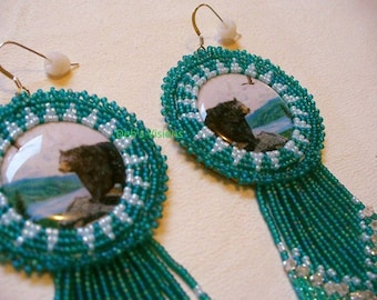 "Native American Style rosette beaded ""Bear over looking Lake"" earrings in Teal and powder Blue"