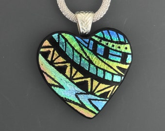 Valentine Necklace, Blue and Gold Dichroic Heart, Dichroic Fused Glass Hand Etched Pendant, Fused Glass Heart Pendant, Zentangle Pendant