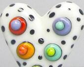 Teeny Tiny Mini Mod Spot POlka Dot Heart in Cream--Handmade Lampwork Glass Bead
