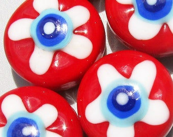 Red, White and Blue Flower Power Patties--Handmade Lampwork Beads