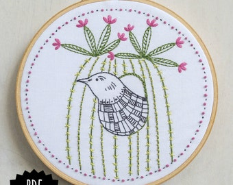CACTUS BIRD - pdf embroidery pattern, embroidery hoop art, bird and cactus, desert vibes, blooming cacti, southwest style, succulent design