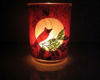 Red Cardinal Earth Light - candle, candle holder, handmade papers, home décor, cardinal, bird, pine, fern, Winter candle, bird lover, ooak