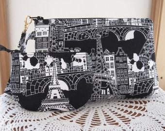 Paris at Night  Smart phone Case Gadget Pouch Clutch Wristlet Zipper Gadget Pouch Bag  Made in USA Set