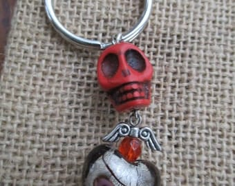 Sacred Heart Red Skull Key Chain