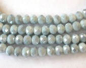 Silver Gray Crystal Beads,  6x8mm 70 Beads, Gray Silver Sparkle Beads