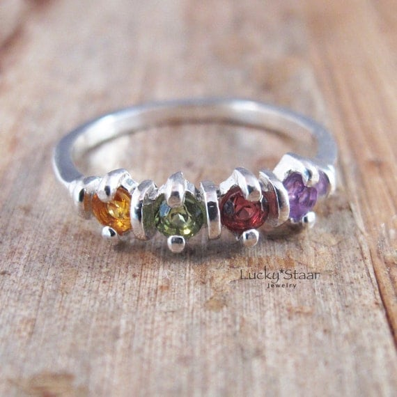 Mothers Ring, Four Stone, Quadruple Stone Sterling Silver Ring for Mom