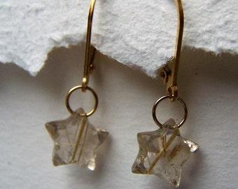 Golden Rutilated Quartz, faceted star briolette, 14k gold fill earwire