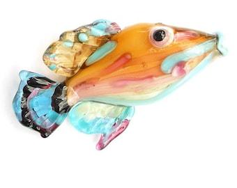Pink & amber Glass bead fish necklace, Lampwork Glass Beads, ocean handmade focal bead, jewelry supplies, SRAJD, CGGE