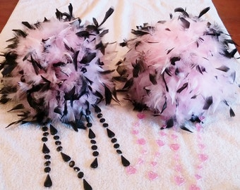 """Feather Centerpiece,Kissing Ball,Pomander 6""""-14"""" 2 colors, crystals, pearls, white black, purple, premixed"""