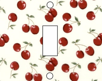 Retro cherries  wallpaper detail single toggle light switch cover