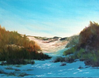 Grayton Beach Dunes 11x14 Oil On canvas original painting Florida Gulf Coast FREE SHIPPING